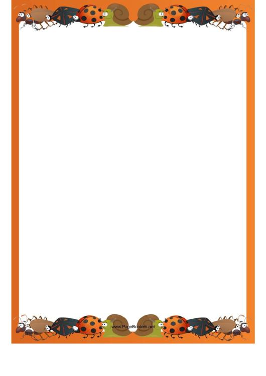 Bug Page Border Template Printable pdf