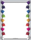 Colorful Bear Paw Print Border