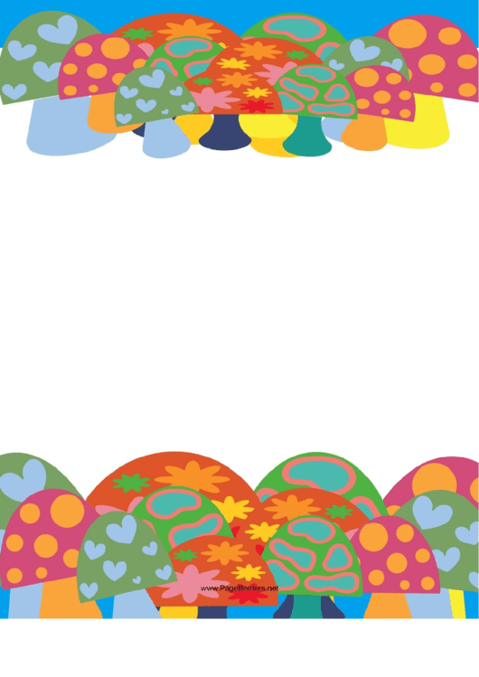 Mushrooms With Pizazz Border Printable pdf