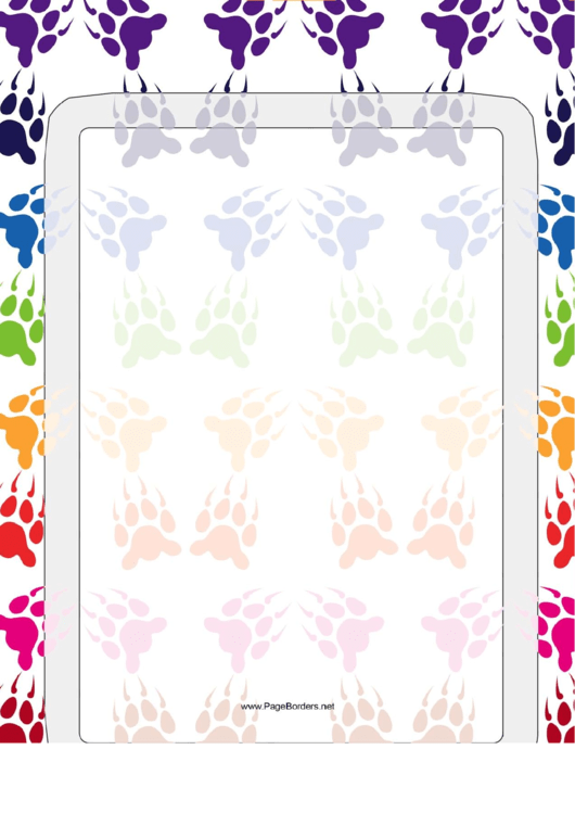 Bear Paw Print Rows Border Printable pdf