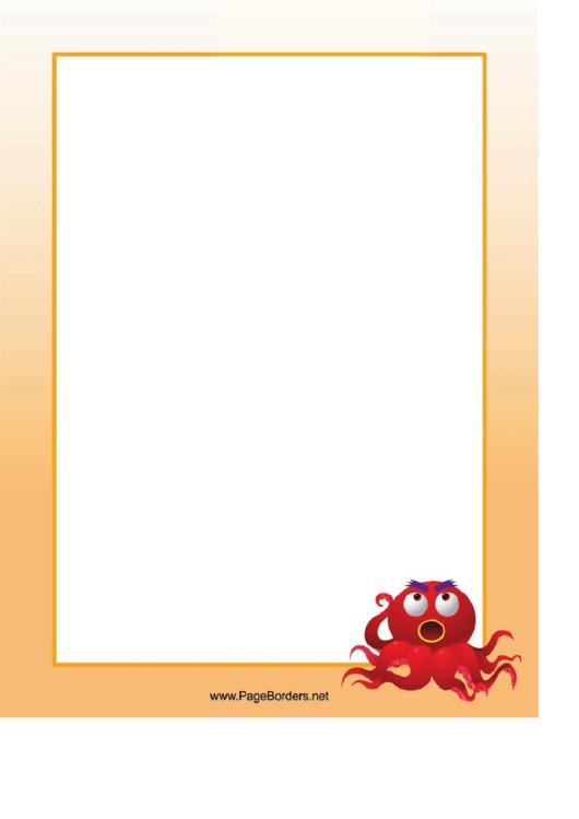 Angry Octopus Border Printable pdf