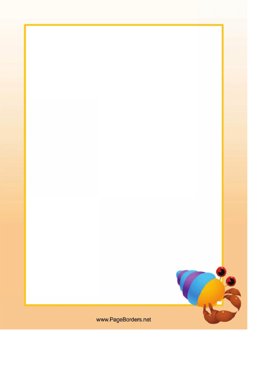 Hermit Crab Border Printable pdf