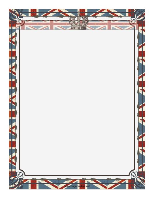 Crown And Union Jack British Border Printable pdf