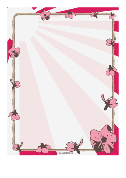 Bamboo And Flowers Chinese Border Printable pdf