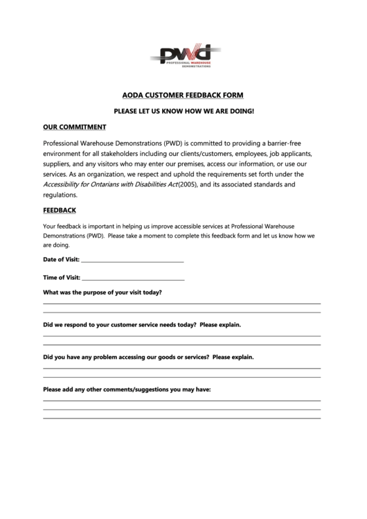 Aoda Customer Feedback Form - Pwd Demonstrations Printable pdf
