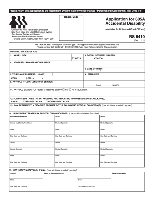 Form Rs 6410 - Application For 605a Accidental Disability
