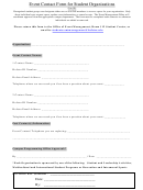 Event Contact Form For Student Organizations