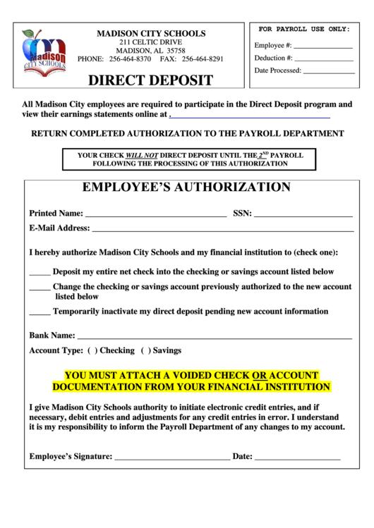 Employee's Authorization