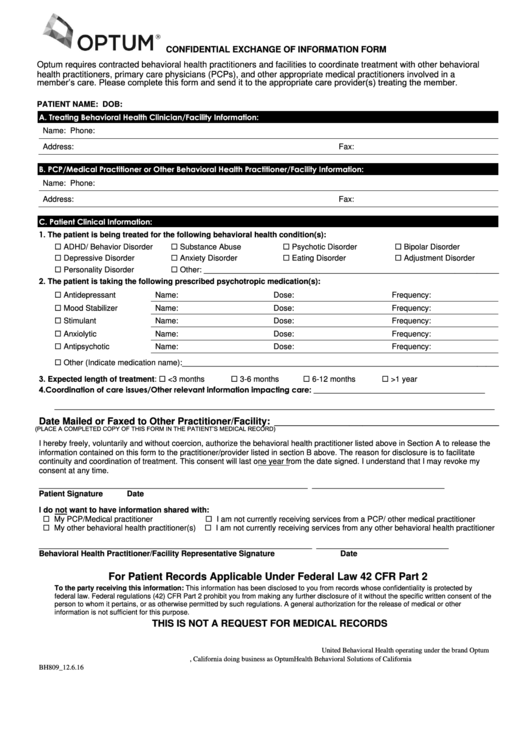 Confidential Exchange Of Information Form