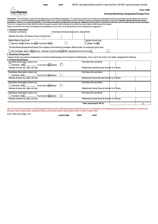 Fillable Form 1938 - Universal Beneficiary Designation Change Form Printable pdf