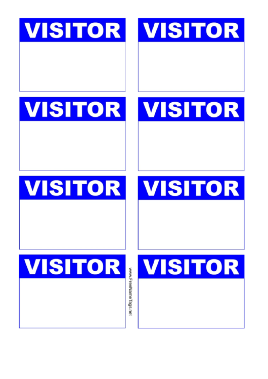 Visitor Badge Blue Name Tag Template Printable Pdf Download - Visitor badge template