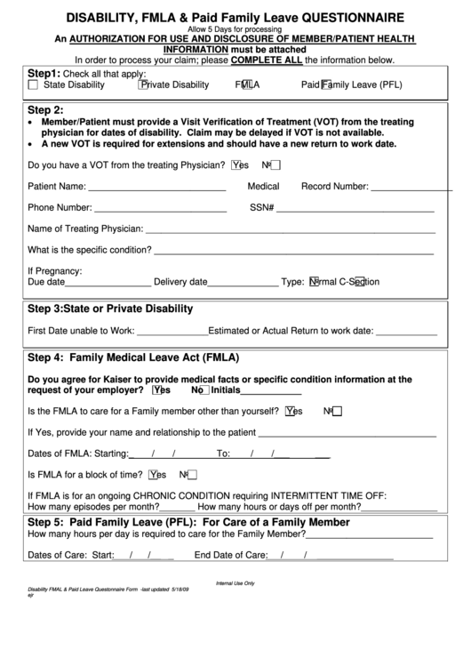 Disability, Fmla & Paid Family Leave Questionnaire Form