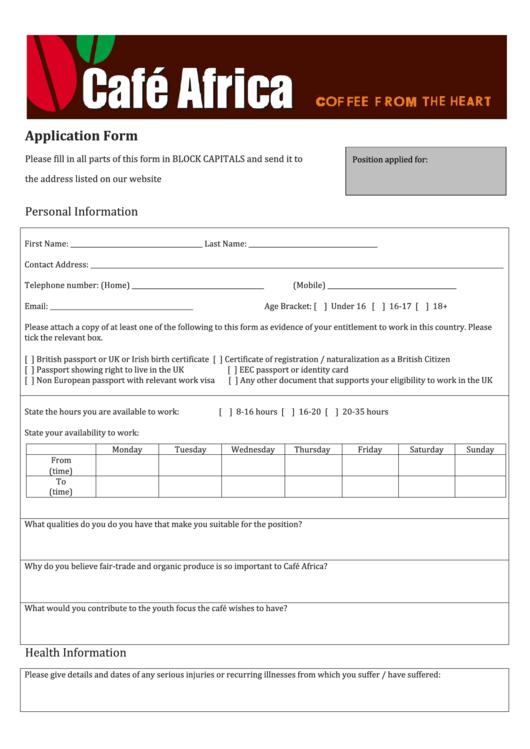 Application Form - Cafe Africa Printable pdf