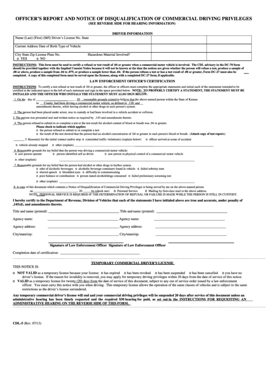 Form Cdl-5 - Officer's Report And Notice Of Disqualification Of Commercial Driving Privileges
