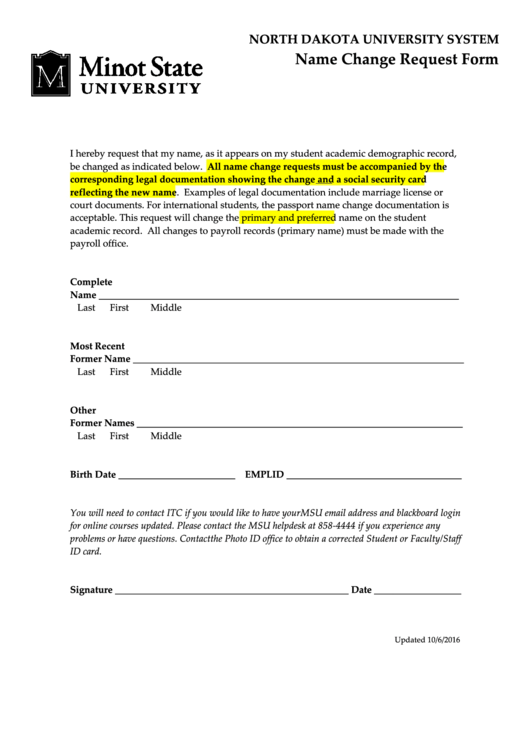 Legal Name Change Request Form - Minot State University Printable pdf