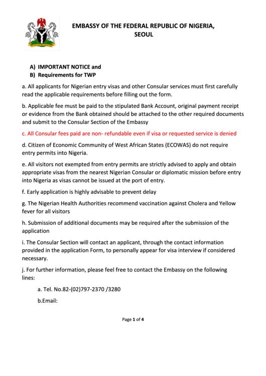 Embassy Of Nigeria Twp Visa Application Form printable pdf download