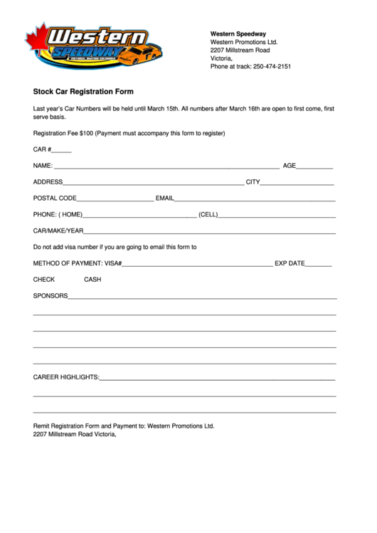 Stock Car Registration Form - Western Speedway