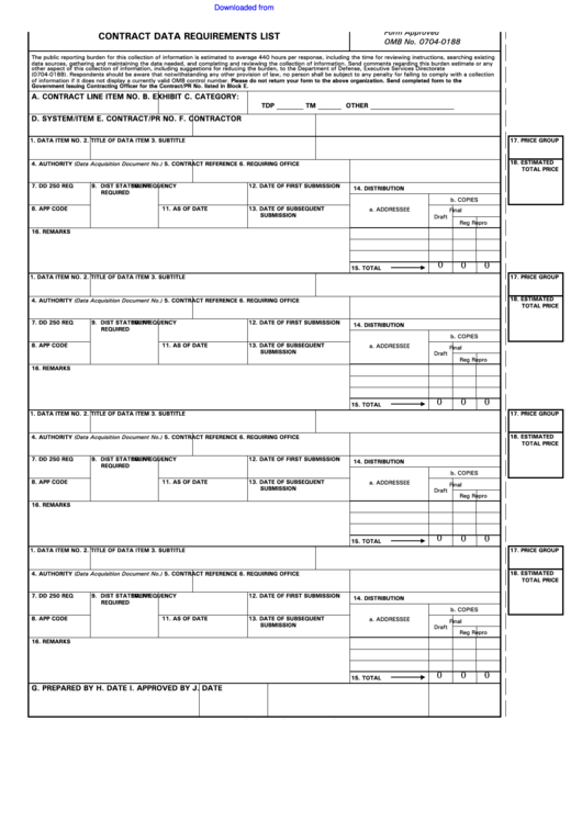 Dd Form 1423 - Contract Data Requirements List printable pdf download