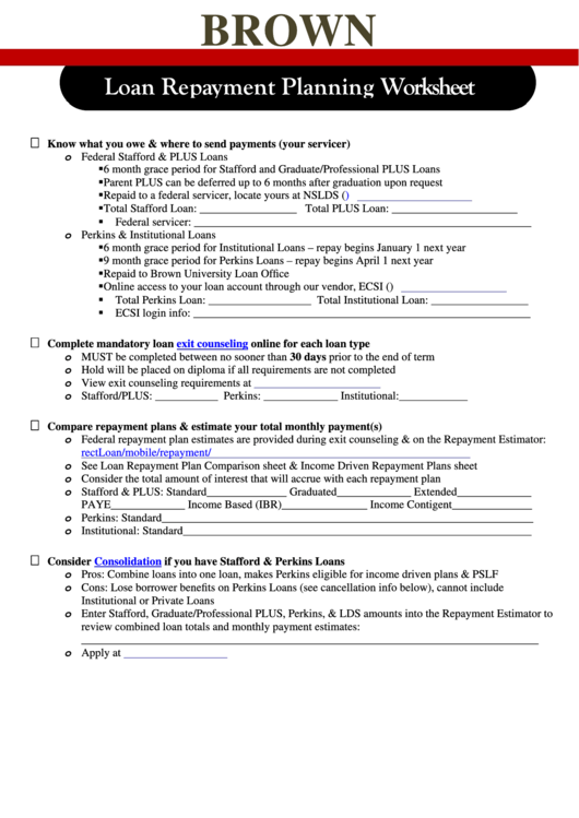Loan Repayment Planning Worksheet - Brown University
