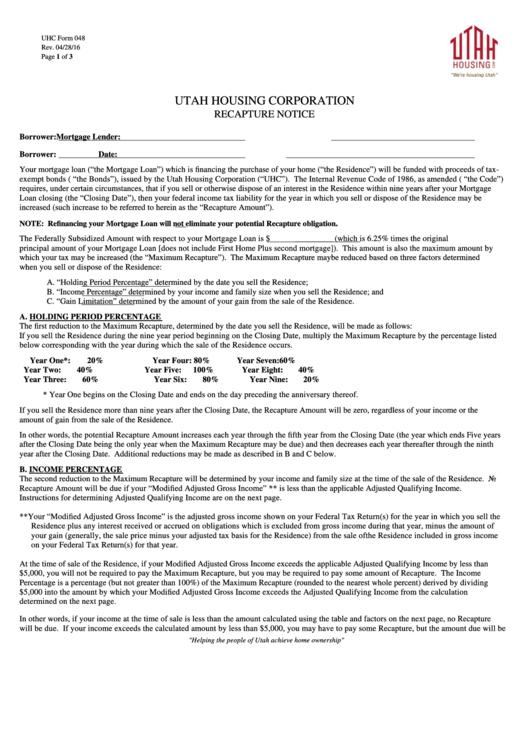 Fillable Utah Housing Corporation Recapture Notice Printable pdf