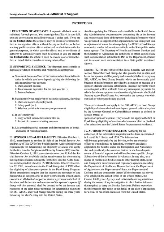 Affidavit Of Support Form I 134 Printable Pdf