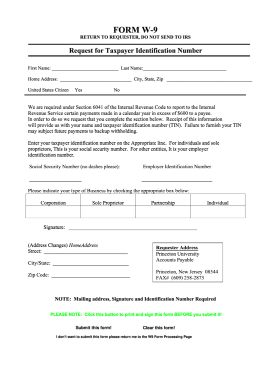 Form W-9 - Request For Taxpayer Identification Number - Princeton University, New Jersey