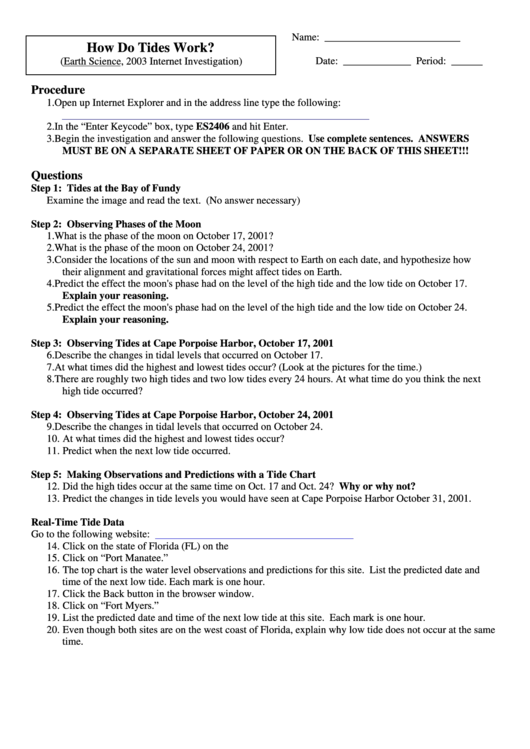 How Do Tides Work Worksheet Livinghealthybulletin
