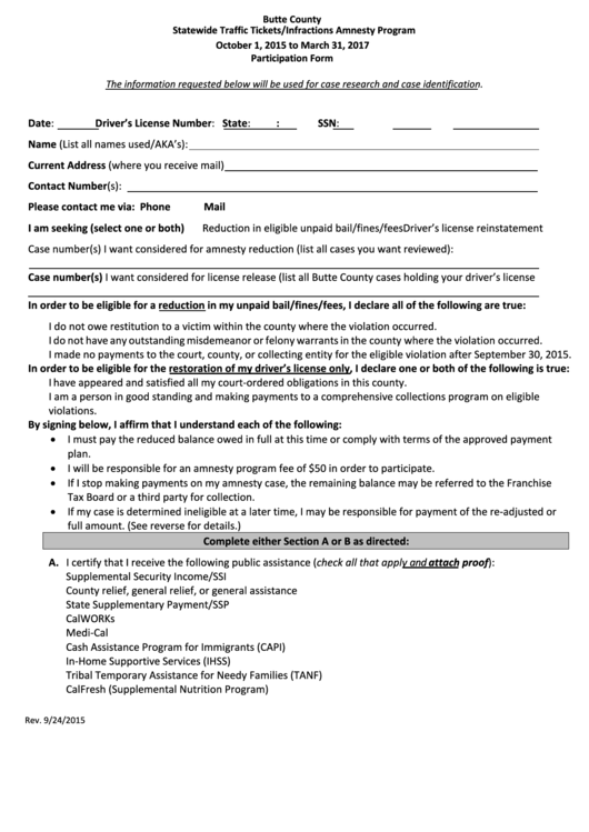 Statewide Traffic Tickets/infractions Amnesty Program Butte County - Participation Form