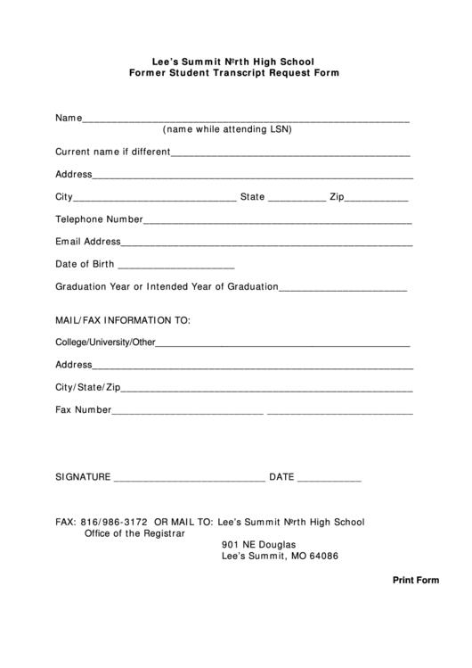 Fillable high school former student transcript request for Free high school transcript template pdf