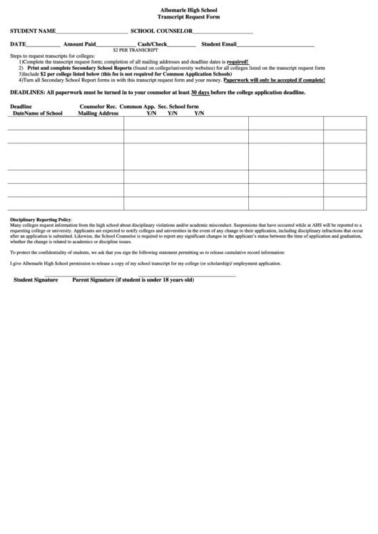 albemarle high school transcript request form printable