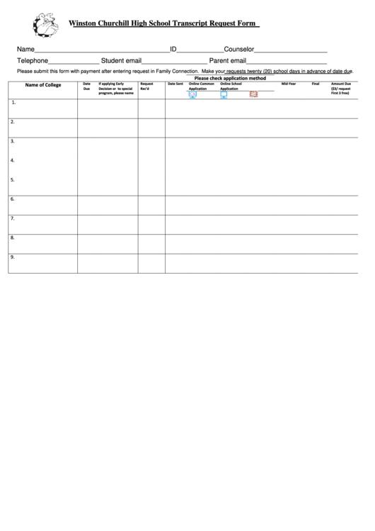 Fillable High School Transcript Request Form Printable pdf