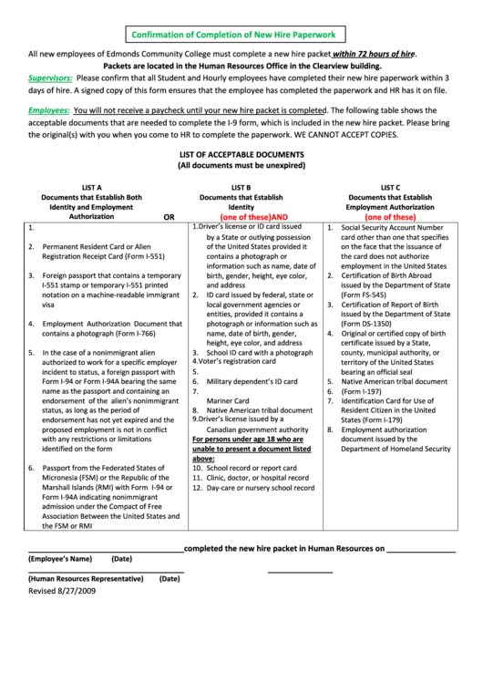 Form Confirmation Of Completion Of New Hire Paperwork & List Of Acceptable Documents