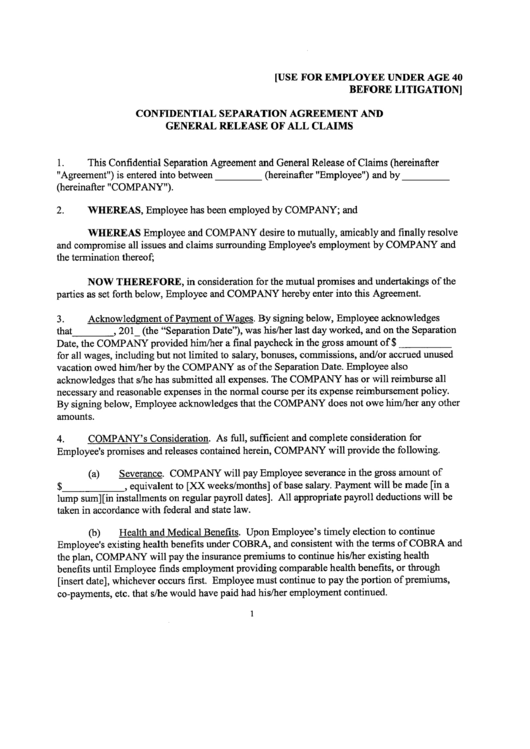 Confidential Separation Agreement And General Release Of All Claims