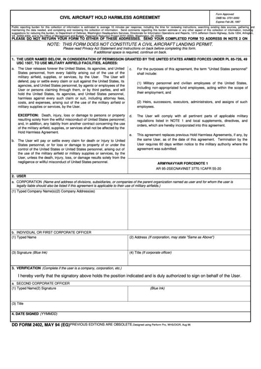Dd Form 2402 - Civil Aircraft Hold Harmless Agreement