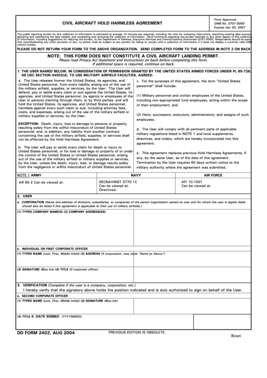 Fillable Dd Form 2402 - Civil Aircraft Hold Harmless Agreement Printable pdf