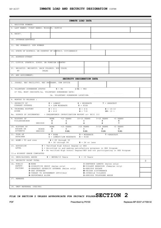 Bp-a0337 - Inmate Load And Security Designation Form - U.s. Department Of Justice, Federal Bureau Of Prisons