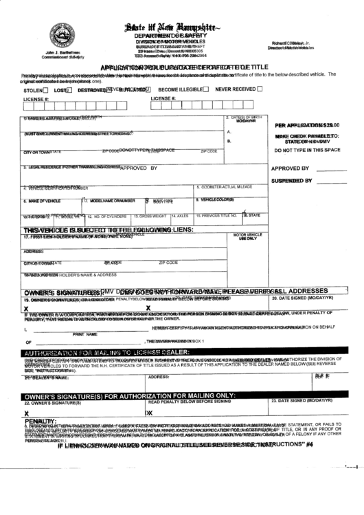 Application For Duplicate Certificate Of Title