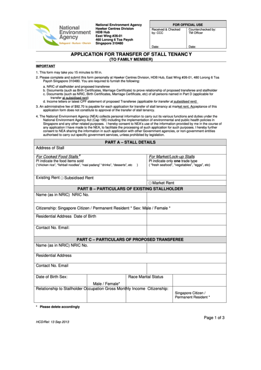 Application For Transfer Of Stall Tenancy Existing Stallholder Printable pdf