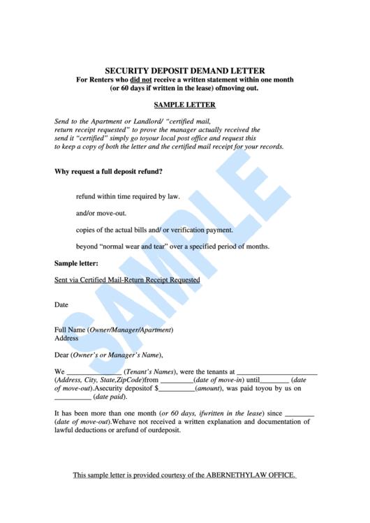 Security Deposit Demand Letter Printable Pdf Download