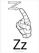 Letter Z Sign Language Template - Outline