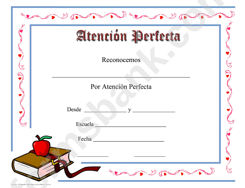 perfect attendance certificate apple printable pdf download