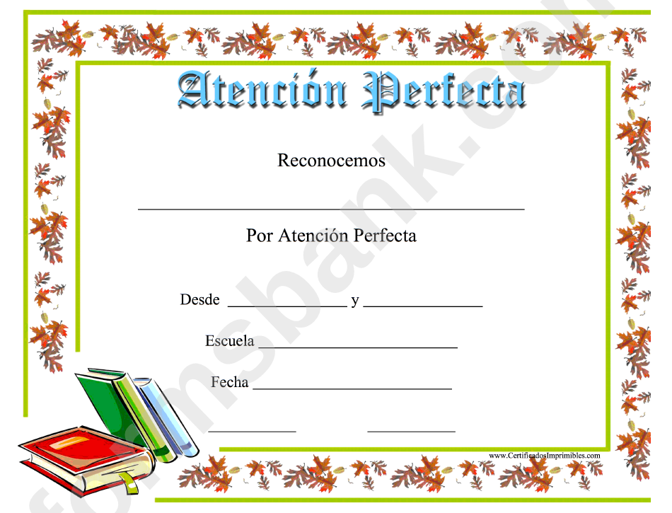 perfect attendance certificate books printable pdf download
