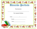 Perfect Attendance Certificate Books
