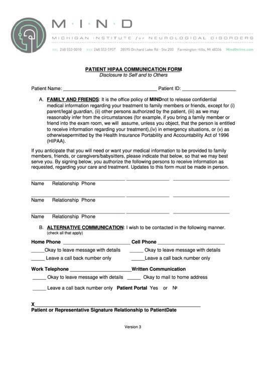 Patient Hipaa Communication Form