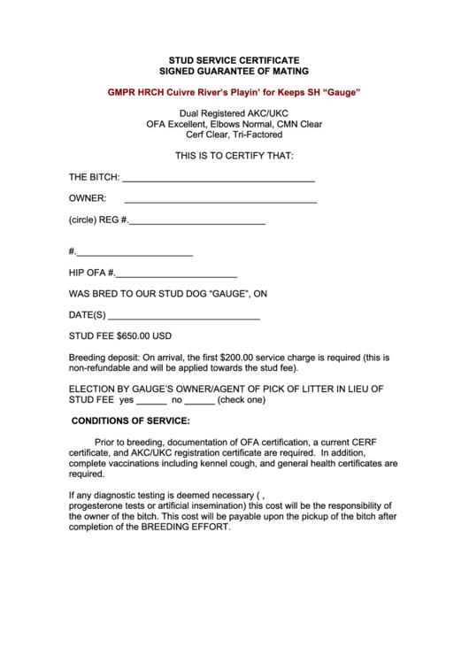 stud service certificate template printable pdf download