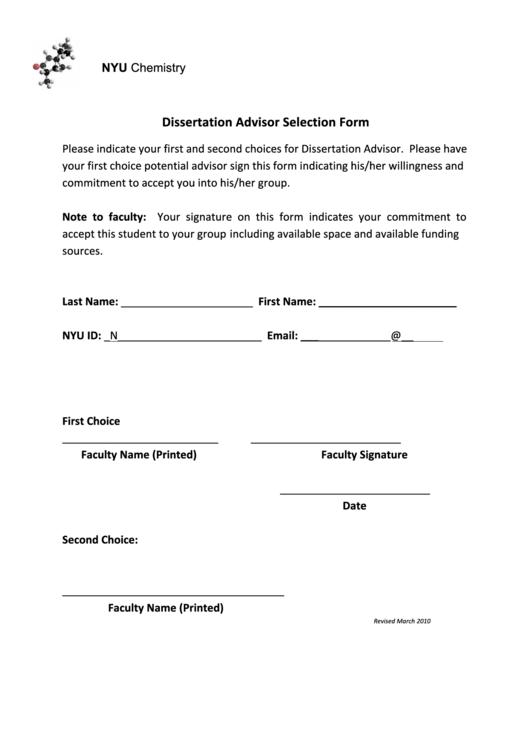 Dissertation Advisor Selection Form