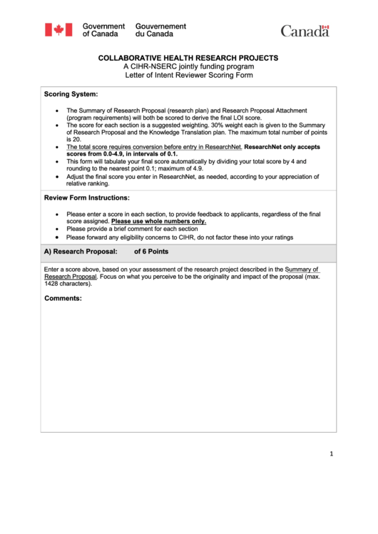 Letter Of Intent Reviewer Scoring Form