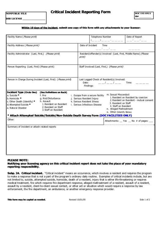 critical incident reporting form printable pdf download