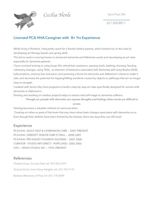 Caregiver Resume Example Printable pdf