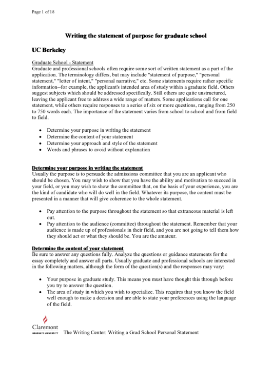 Graduate School Statement Template